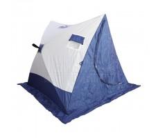 Палатка зимняя СЛЕДОПЫТ 2-скатная бело-синяя